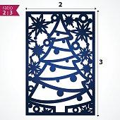 Holiday card die cut x-mas pattern
