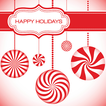 Holiday card in red and white with hanging peppermints