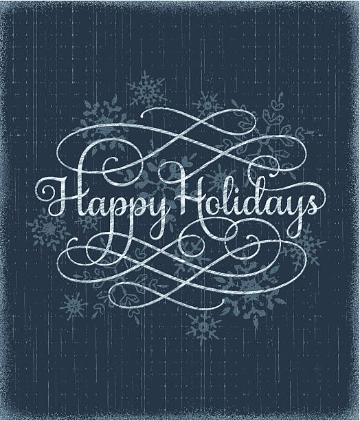 Holiday Card with Calligraphy vector art illustration