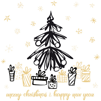 Holiday Card with christmas presents under the tree. Vector illustration.