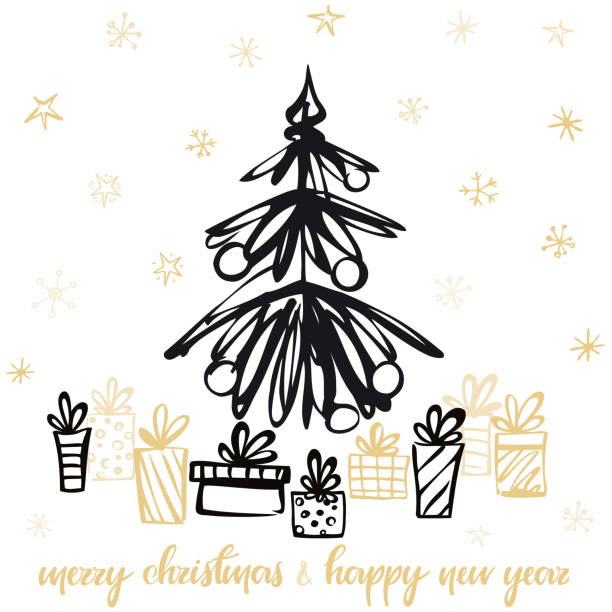 Holiday Card with christmas presents under the tree. Vector illustration. vector art illustration