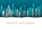Hand drawn Christmas,Holiday background with stylized Christmas trees.