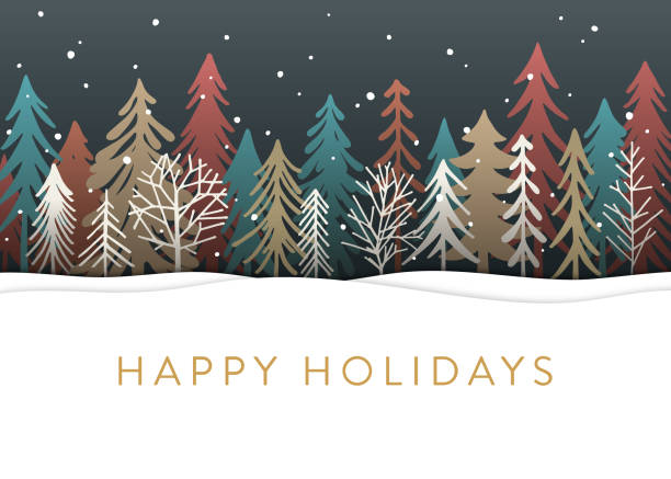 holiday card with christmas trees - holiday stock illustrations, clip art, cartoons, & icons