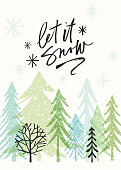 Hand drawn Christmas,Holiday background with stylized Christmas trees and calligraphy greetings.