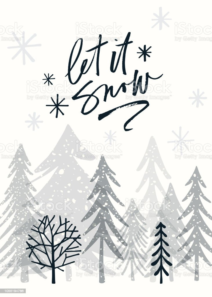 Holiday Card with Christmas Trees vector art illustration