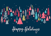 Hand drawn Christmas,Holiday background with stylized Christmas trees. Scandinavian style Holiday background.