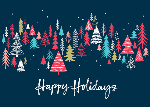 Holiday Card with Christmas Trees