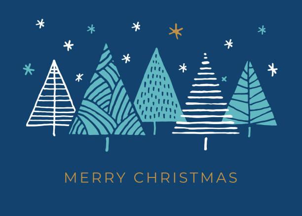 bildbanksillustrationer, clip art samt tecknat material och ikoner med semester kort med julgranar. - christmas card