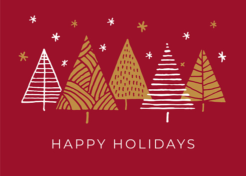 Holiday Card with Christmas Trees.