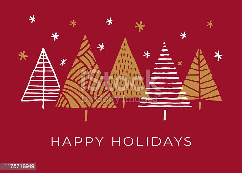 istock Holiday Card with Christmas Trees. 1175716949