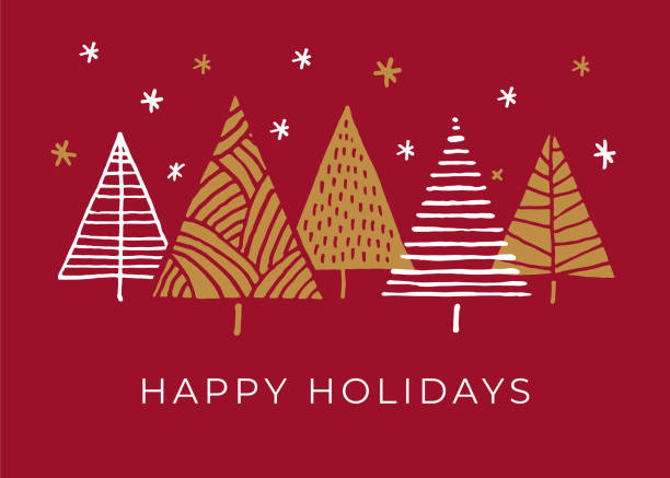 Holiday Card with Christmas Trees. vector art illustration