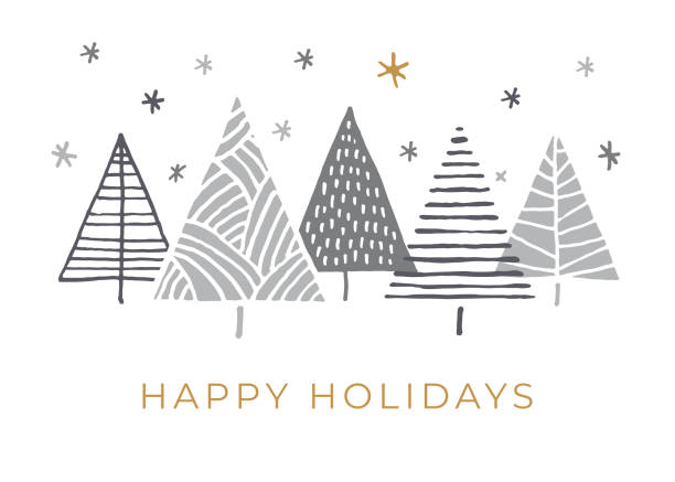 holiday card with christmas trees. - holiday season stock illustrations