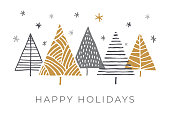 Holiday Card with Christmas Trees. stock illustration