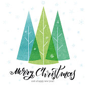 istock Holiday Card with Christmas Trees. Vector stock illustration. 1281401134