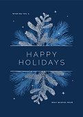 Holiday Card with Evergreen Silhouettes. Stock illustration