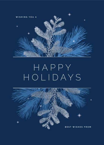 ilustrações, clipart, desenhos animados e ícones de cartão do feriado com silhuetas verdes. - inverno