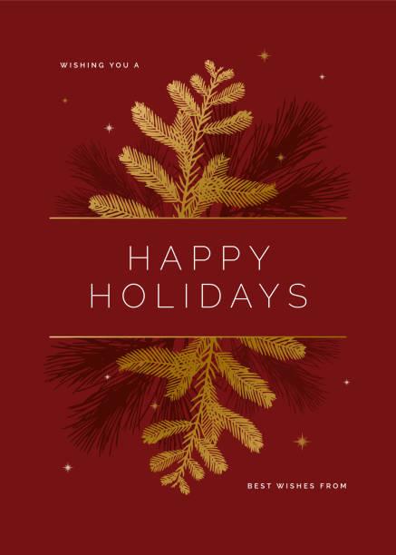 ilustraciones, imágenes clip art, dibujos animados e iconos de stock de tarjeta de vacaciones con siluetas de hoja perenne. - marcos de festividades y de temporada