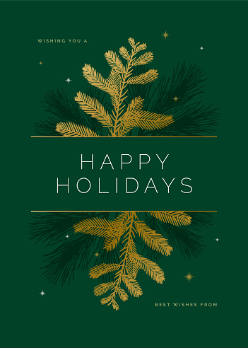 Holiday Card with Evergreen Silhouettes.