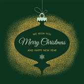 Holiday Card With Golden Glitter. - Illustration