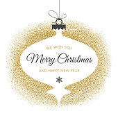 Holiday Card With Golden Glitter - Illustration