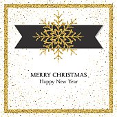 Holiday Card Template With Golden Metallic Sparkles. Copy space in the center. Great for greeting card, invitation template.