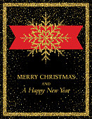 Holiday Invitation or Card template With Golden Metallic Glitter Ornament. Room for text.