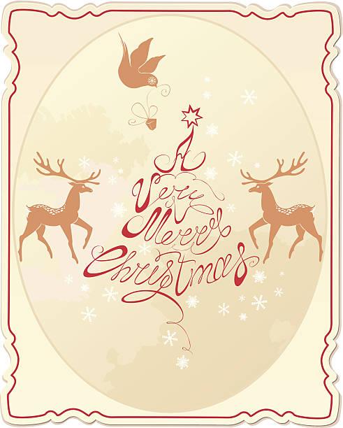 ilustrações de stock, clip art, desenhos animados e ícones de cartão de férias com mão escrito texto muito merry natal - lian empty
