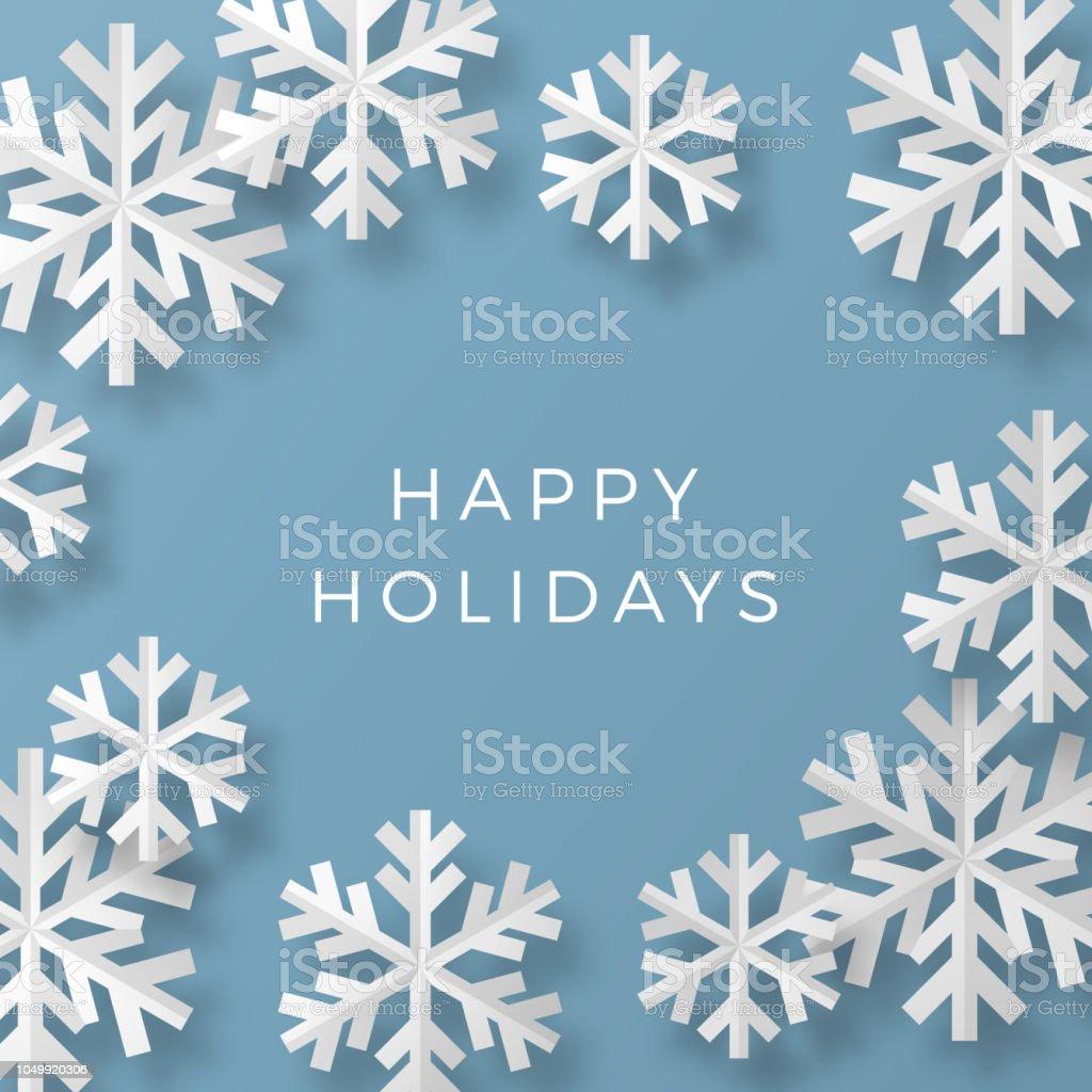 Weihnachtskarte Mit Papier Schneeflocken Stock Vektor Art Und Mehr