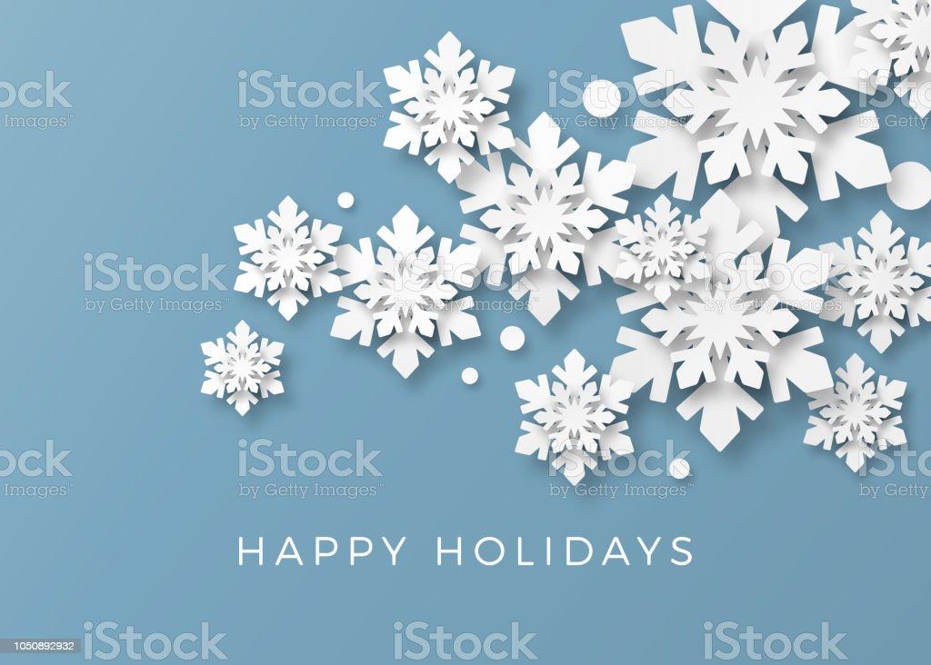 Kerstkaart met papier sneeuwvlokkenvectorkunst illustratie