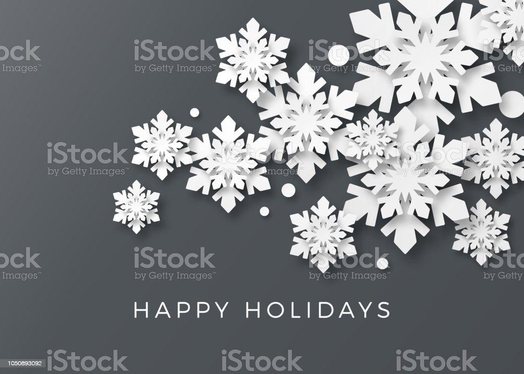 Weihnachtskarte mit Papier Schneeflocken - Lizenzfrei Abstrakt Vektorgrafik