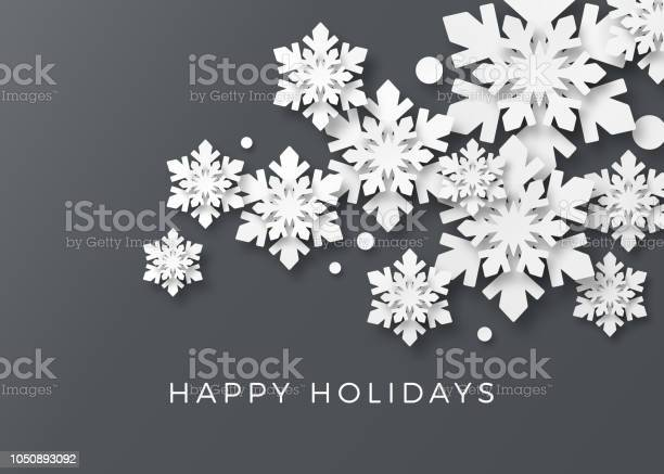 Weihnachtskarte Mit Papier Schneeflocken Stock Vektor Art und mehr Bilder von Abstrakt