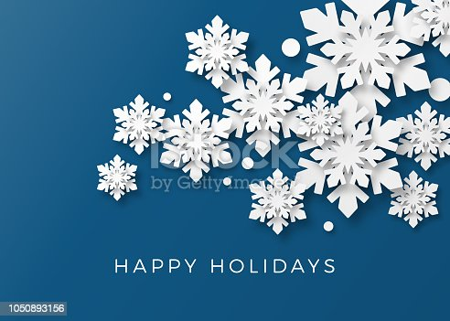 Holiday, Christmas background with 3d paper cutout snowlakes. Corporate Holiday card.