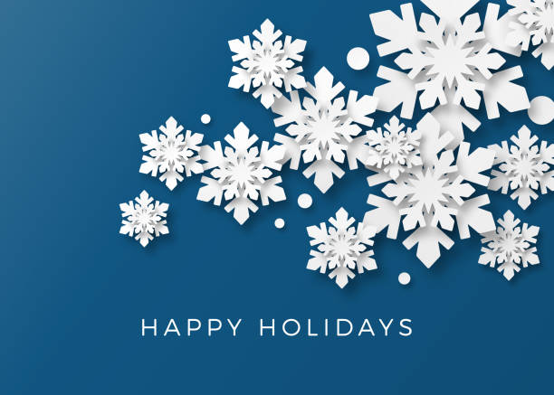 ilustrações, clipart, desenhos animados e ícones de cartão holiday com flocos de neve de papel - inverno