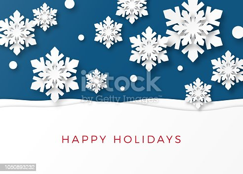 istock Holiday Card with Paper Snowflakes 1050893232
