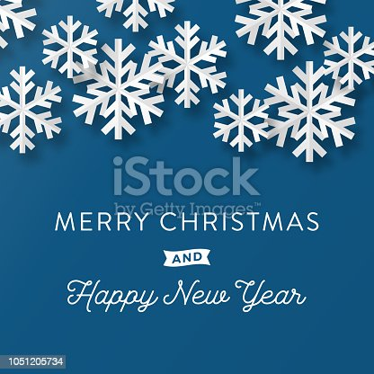 istock Holiday Card with Paper Snowflakes 1051205734