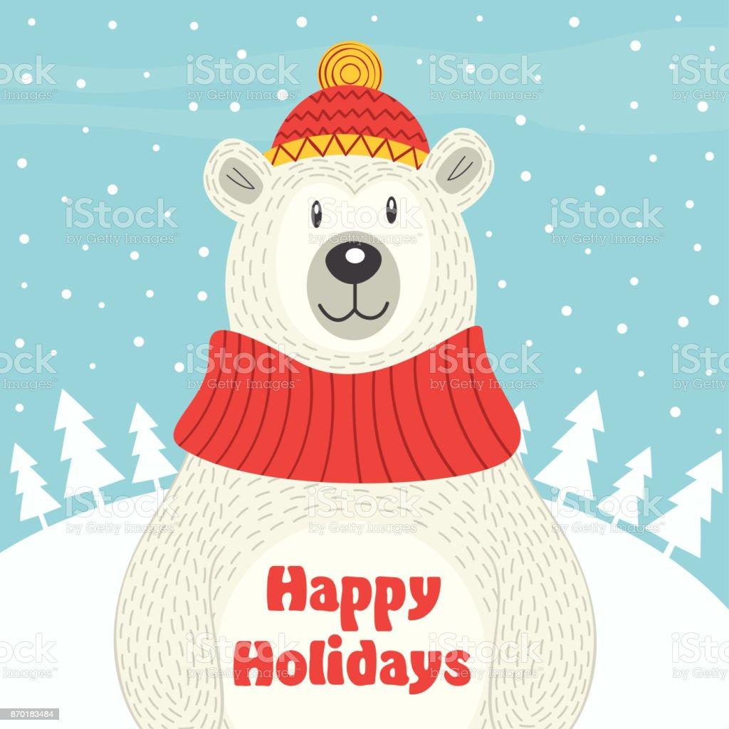 Holiday card with polar bear vector art illustration