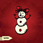 Snowman on grunge background.Christmas Icon -  vector artwork