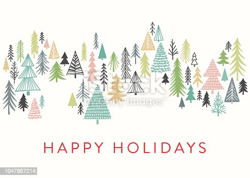 Hand drawn Christmas,Holiday background with stylized Christmas trees. Cute, fun abstract trees.