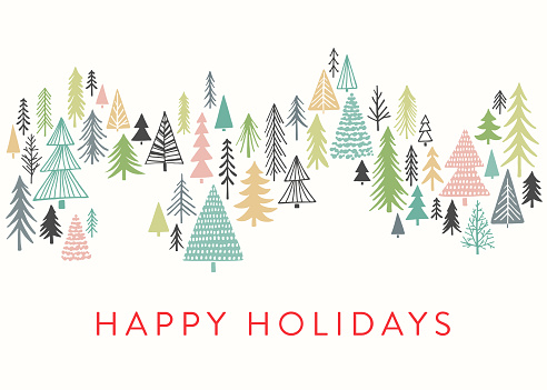 Holiday Card with Sketched Christmas Trees