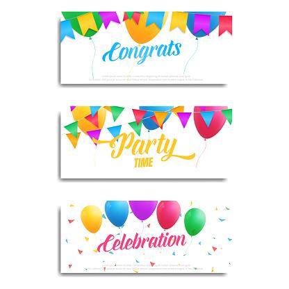Weihnachtskarten Einladung.Weihnachtskarten Einladung Flyer Geburtstagflyer Mit Bunten Luftballons Ammern Konfetti Und Typografie Stock Vektor Art Und Mehr Bilder Von