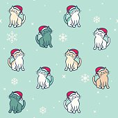 Holiday cats festive christmas background concept.