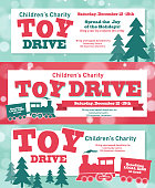 Vector illustration of a Holiday Charity Toy Drive fundraiser poster banner retro design. Includes bokeh background, gold accents, choo choo toy train, trees, bokeh, and sample text design. Charity or fundraising, gift giving.  Christmas giving, philanthropy, poster design. Fully editable, and printable. Scalable. Sample text design for easy customization.