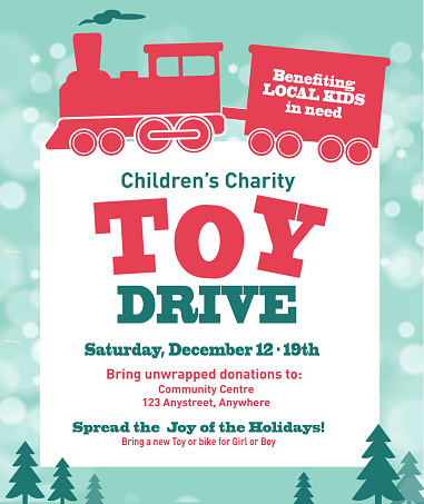 Holiday Charity Toy Drive fundraiser poster design retro bokeh design
