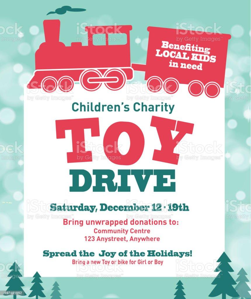 Holiday Charity Toy Drive fundraiser poster design retro bokeh design vector art illustration
