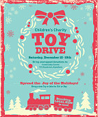 Vector illustration of a Holiday Charity Toy Drive fundraiser poster retro design. Includes wooden background, gold accents, choo choo toy train, trees, snowflakes, and sample text design. Charity or fundraising, gift giving. Wreath with bow and berries. Christmas giving, philanthropy, poster design. Fully editable, and printable. Scalable. Sample text design for easy customization.