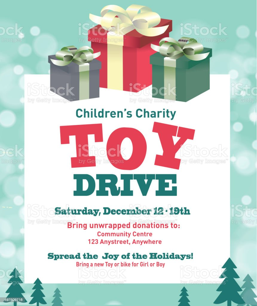 Holiday Charity Toy Drive Fundraiser Poster Design Retro Design ...