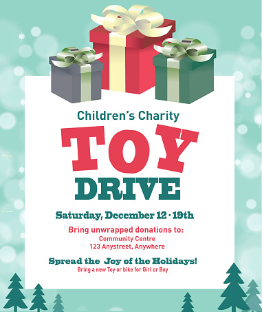 Holiday Charity Toy Drive fundraiser poster design retro design