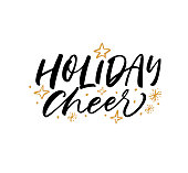 Holiday cheer phrase. Ink illustration. Modern brush calligraphy. Isolated on white background.