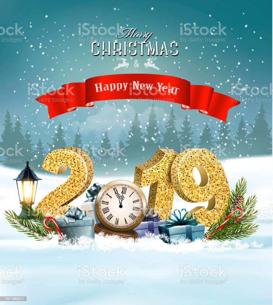 Weihnachten Geschenke 2019.Urlaub Weihnachten Hintergrund Mit 2019 Und Geschenke Und Uhr Vektor