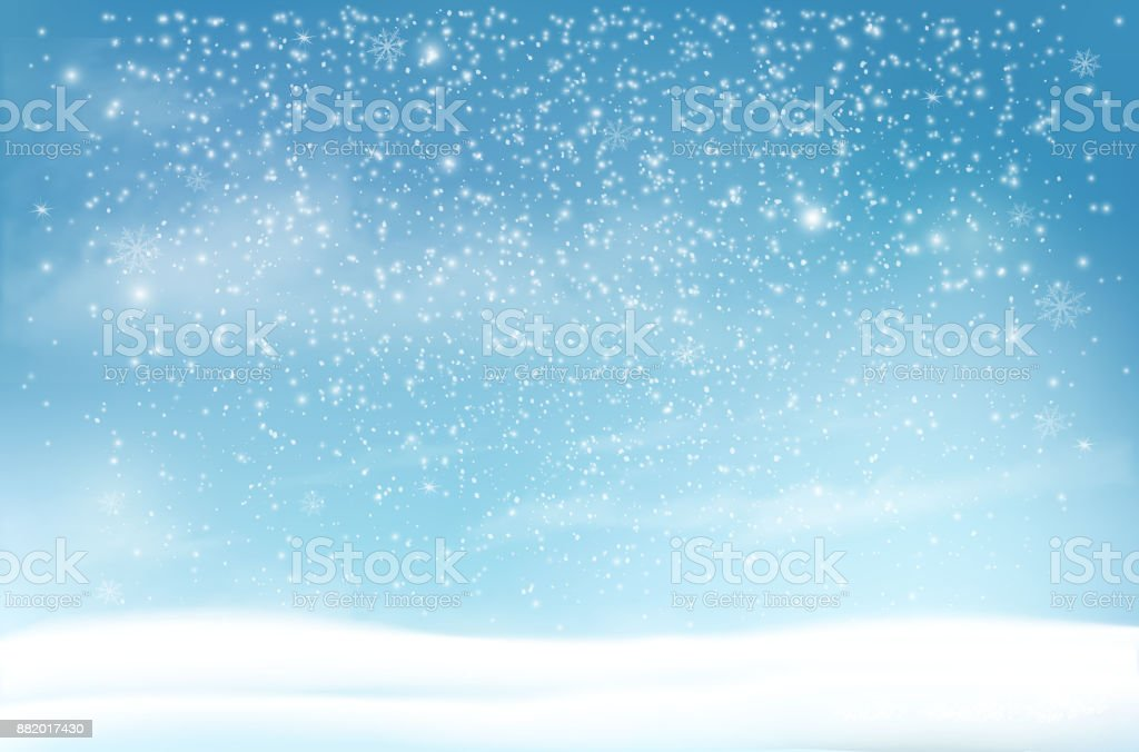 Holiday Christmas background with a snowflakes and landscape. Vector vector art illustration